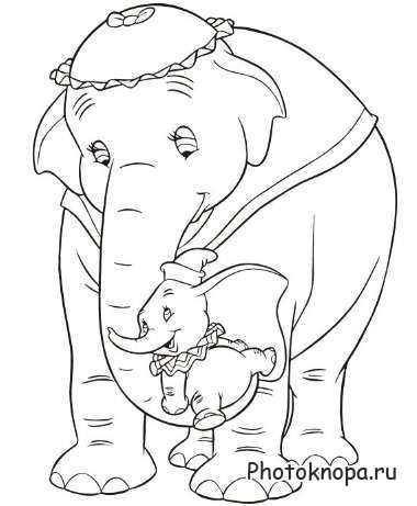 Картинки слоники раскраски