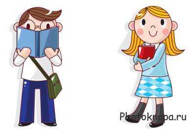 Рисованные дети школьники - ученики в векторе