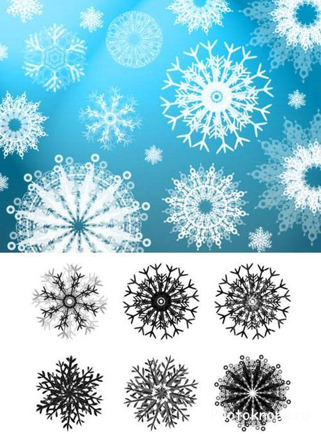 ����� ��� �������� �������� - Snowflakes Brushes