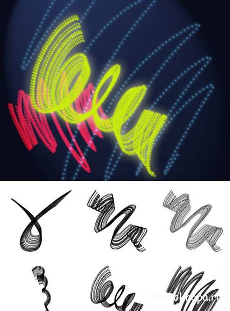 ����� ��� �������� �������� ����� - Neon Lines Brushes