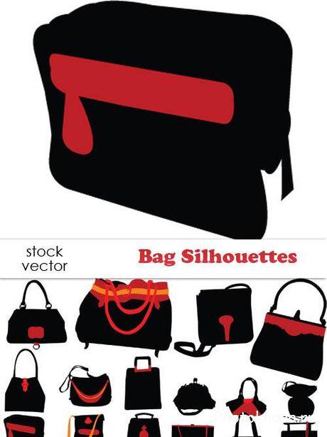 Скачать клипарт сумки в векторе.  Черные сумки женские и мужские.