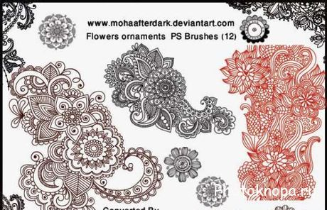 ��������� ��������� ����� ��� �������� - Floral Ornaments Brushes