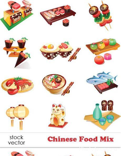 Китайская еда блюда кухня векторный