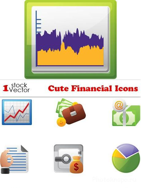 Финансовые иконки в векторе - Financial Icons Vector
