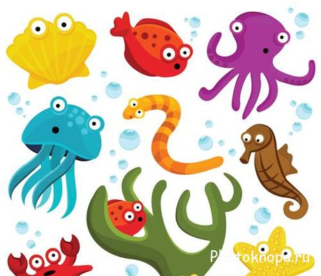 ������� �������� ��������� ������� - Marine animals Vector
