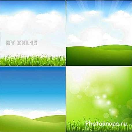 Зеленая трава и голубое небо