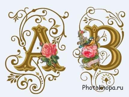 Винтажный алфавит с розами и узорами