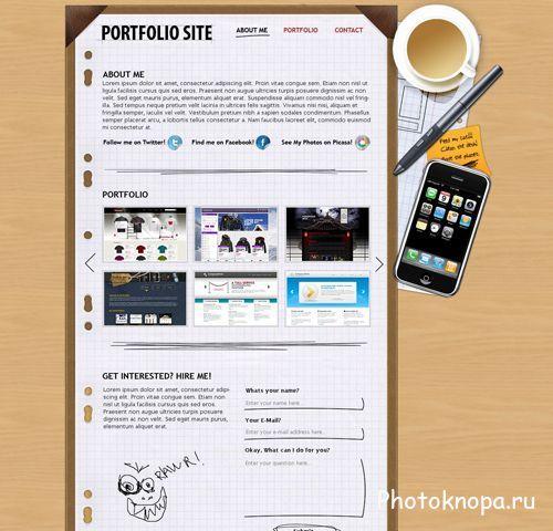 Портфолио psd исходник для фотошопа