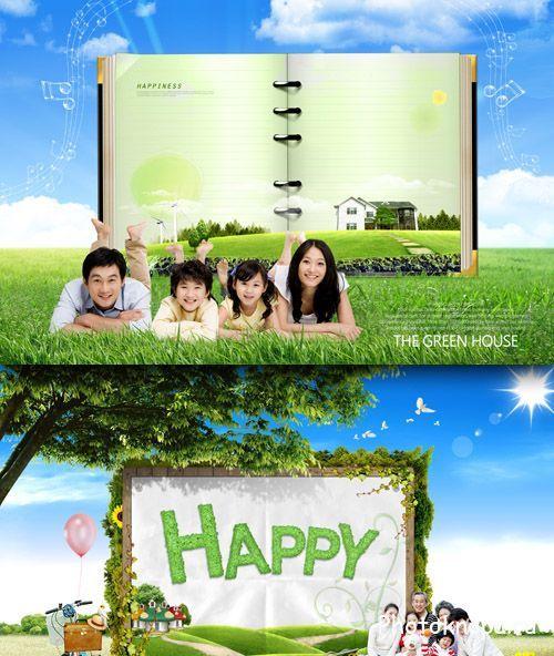 Счастливая семья и природа psd