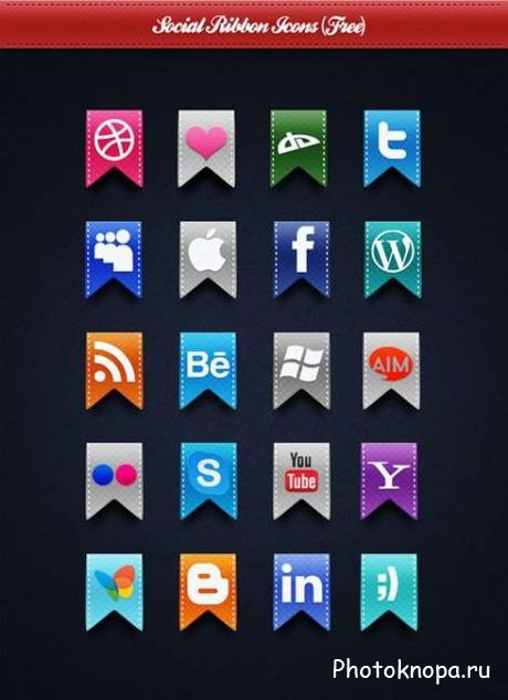 Социальные иконки в виде флагов psd