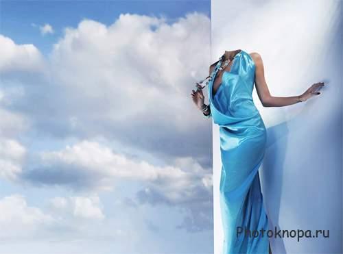 Шаблон женский в синем платье