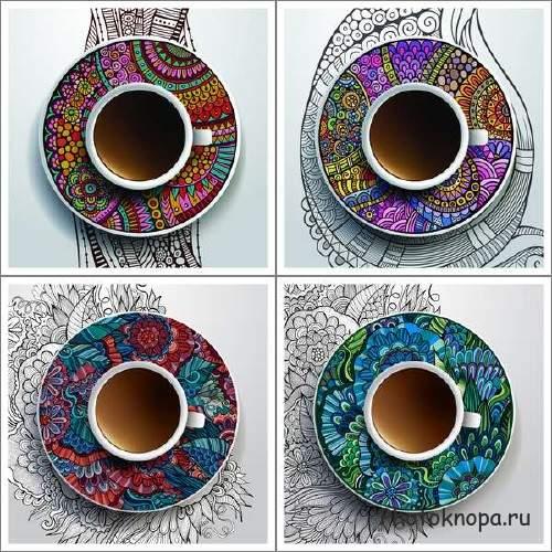 Этнические украшения и кофейные чашки