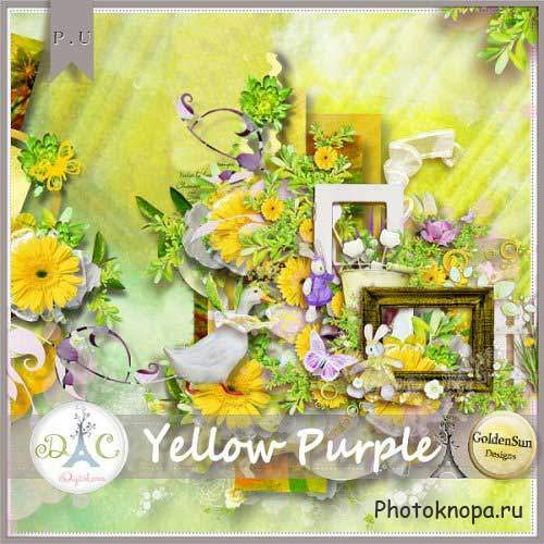 Цветочный скрап-комплект - Yellow Purple