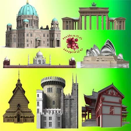 Клипарт – Элементы домов, замков, пагод