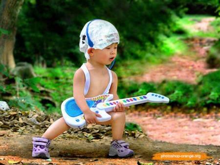 Шаблон для фотошопа - Мальчик с гитарой