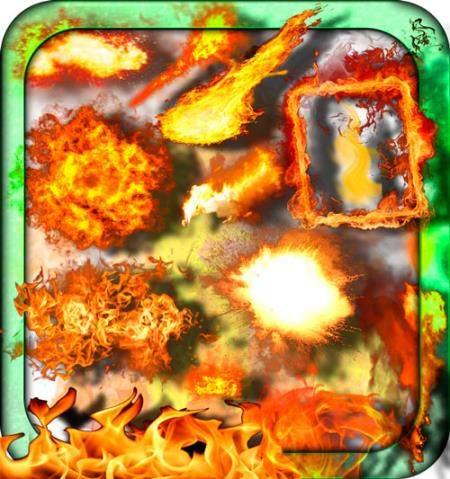 Клипарты на прозрачном фоне - Взрывы и пожары