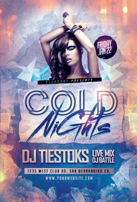 Cold Nights psd flyer template