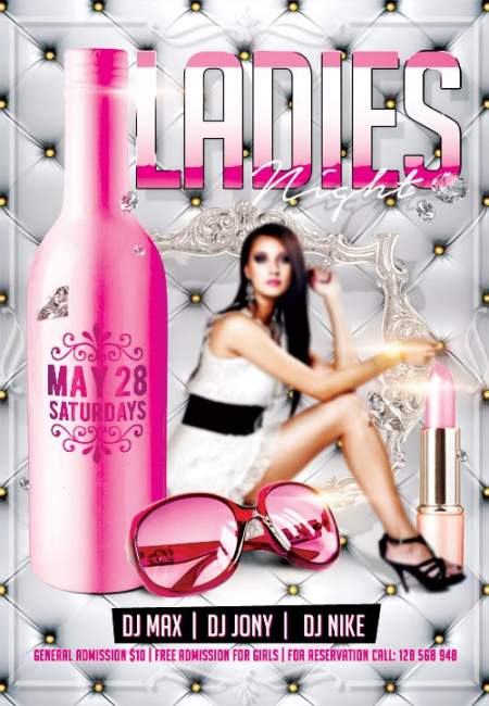 Ladies Night Party 2 psd flyer template