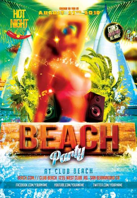 Beach party psd flyer template