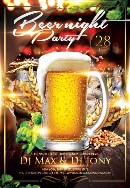 Beer night psd flyer template