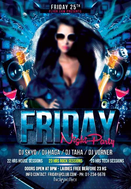 Friday night party psd flyer template
