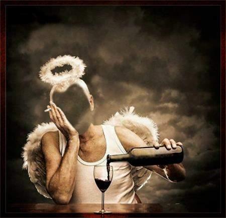 Шаблон для фотомонтажа - Пьющий ангел