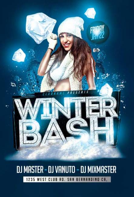 Winter Bash psd flyer template