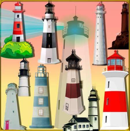 Png клипарты для фоторамки - Морские маяки