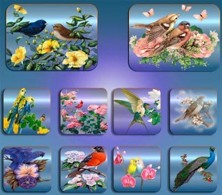 Картинки на прозрачном фоне - Птицы в цветах