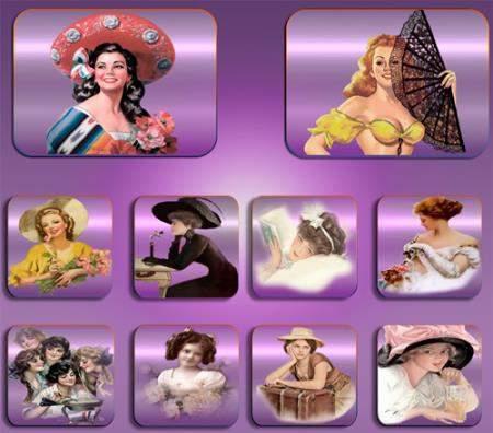 Прозрачные клипарты для фотошопа - Светские дамы