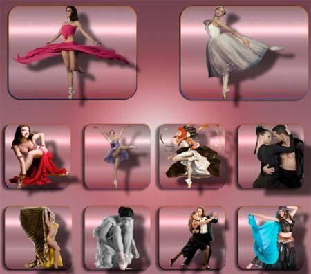 Растровые клипарты для фоторамок - Девушки в танце