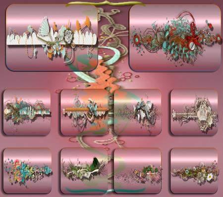Клипарты / Cliparts - Цветочные бордюры