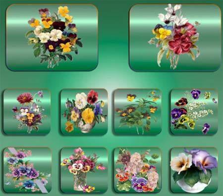 Картинки на прозрачном фоне - цветы в букетах