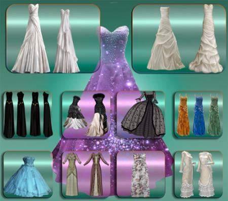 Клипарты для фотошопа - Изящные платья